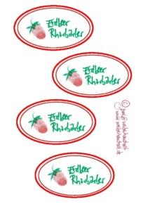 Etiketten Erdbeer Rharbarber